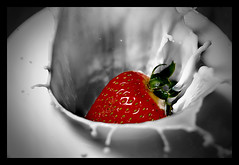 Strawberry and Milk (Nathan Flickinger) Tags: red food motion macro fruit studio milk interesting strawberry nikon action flash explore splash capture highspeed stopmotion soundtrigger selectivecolor d40 flickrsbest foodshots platinumphoto nikond40 flickrdiamond damniwishidtakenthat expressofpro novavitanewlife noestecnologa screativo esloquetpuedeshacer