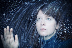 42 of 365 (elsvo) Tags: blue portrait woman snow window girl face hand looking 365 365days