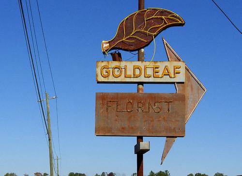 Goldleaf Florist sign, Georgia, USA