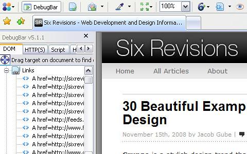 15 Add On Firefox web developer DebugBar