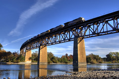 Railfanning Redding (Thad Roan - Bridgepix) Tags: california railroad trestle bridge blue sky water train river rocks rail railway explore locomotive redding railfan span bridging railfanning bridgepixing bridgepix mywinners 200811