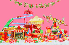 Christmas Carnival (boopsie.daisy) Tags: park santa christmas carnival pink winter holiday snow color colors natal weihnachten festive fun mushrooms navidad amusement yummy rainbow gnome colorful december ride candy circus stripes lion carousel fair noel garland cupcake canes zipper apples rollercoaster dots lollipop wonderland technicolor merrygoround coaster natale lollipops gnomes elves polkda