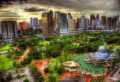 KLCC Park (ezreen.photography) Tags: park morning sky building green photoshop mas exposure apartment muslim islam mobil mosque kualalumpur kl hdr klcc masjid exxon cs3 traders photomatix