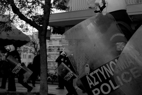 Riot police ready to go into action in Thessaloniki, Greece