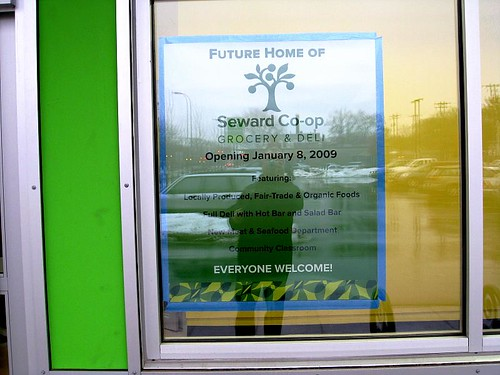Seward Co-op's new sign, Dec. 14, 2009