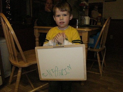 Proud boy who just learned how to write his name