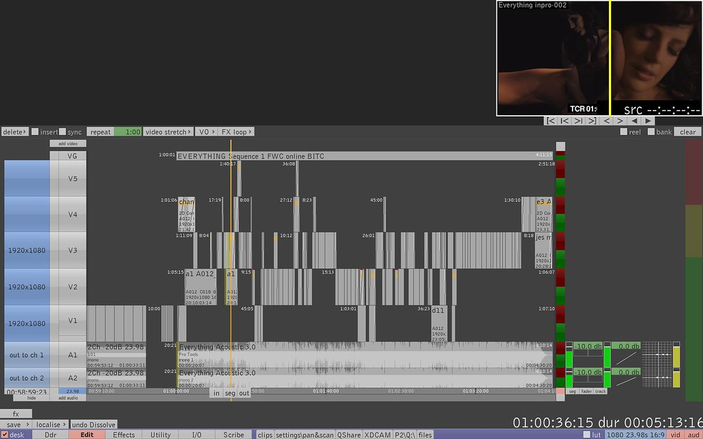 Quantel eQ RED multlayer conform timeline