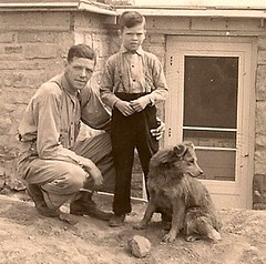 Man, his son and his dog