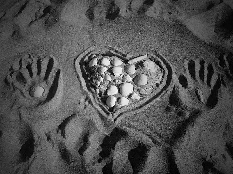 Seashells, Sand, Heart, Hands