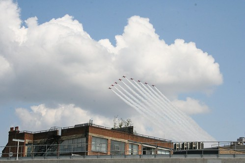 Red Arrows over Shoreditch