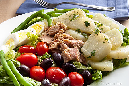 Classic Salade Nicoise with French Potato Salad, Tuna, Olives, Tomato, Green Beans, and Eggs) imageanchor=