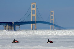 Frozen (smiles7) Tags: bridge blue sky ice michigan snowmobiles mackinacbridge mackinac