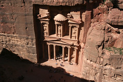 Sunlight On The Treasury (MykReeve) Tags: light shadow red people rock stone architecture crowd petra treasury tourist tourists jordan crowds alkhazneh