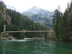 Diablo Lk, Suspension Bridge, Tunnel and John Pierce Bridge on Hwy 20