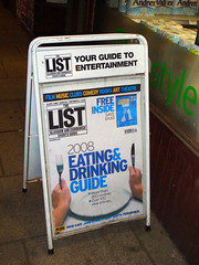 Advertisement for The List Eating & Drinking Guide 2008 to 2009