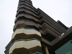 looking up at the car park from the foot of the south west stairs