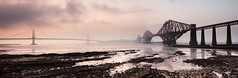 Forth Bridges Haar Pano (onefivenine) Tags: road sunset sea cloud fog scotland edinburgh fife tide bridges rail forth shore lothian firth haar