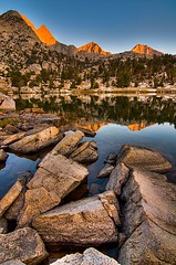Dawn on Mount Cotter and Mount Clarence King (Eric Wolfe) Tags: california usa mountains nature reflections landscape outdoors dawn rocks unitedstates lakes peaks highsierras alpenglow easternsierranevadamountains sierranevadamountains johnmuirtrail original:filename=200708160359jpg