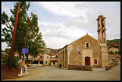 Evrychou village square and church /      (-Filippos-) Tags: church marina square village plateau cyprus christian orthodox agia      92007  evrychou