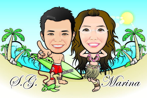 Q Digital Caricature Sea-Side Theme Drawing