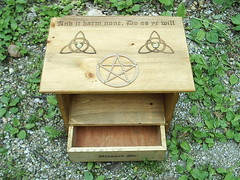 Pagan Altar with Shelf (dragonoak) Tags: witch altar occult pentacle pagan triquetra metaphysical