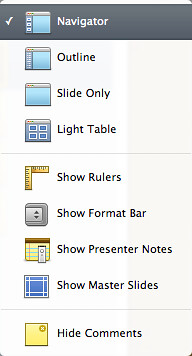 View options from Toolbar