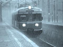 Feelin' blue... (szogun000) Tags: railroad monochrome rain station electric set train tren rail railway olympus commuter emu passenger trem treno downpour ezt pkp поезд pyskowice silesian śląskie en57 uppersilesia sp550uz górnyśląsk en571724 pkppr d29132