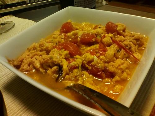 054 卵とトマトの炒め物