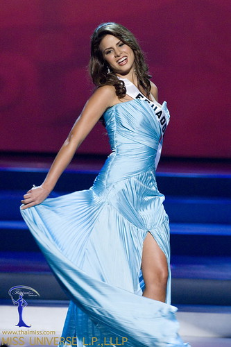 Domenica Saporiti, Miss Ecuador 2008, competes in a gown of her ...
