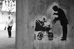 Dolk - what...? (morten.hammer) Tags: street people blackandwhite bw streetart man art norway wall concrete graffiti norge sketch interestingness stencil nikon child drawing streetphotography urbanart explore bergen stencilart dolk d300 explored larshillesgate
