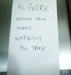 Al Gore knows how many napkins you take