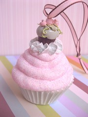 shabby cupcake ornament (Pinks & Needles (used to be Gigi & Big Red)) Tags: pink roses glitter vintage dessert cupcakes fake ornament faux romantic chic etsy cottagestyle shabby shabbychic gigiminor pinksandneedles cssteam pinkaandaqua fauxdough