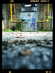 Amman Cotton Mill Yellow. (flevia) Tags: analog mediumformat holga kodak decay urbandecay pipes kodakportra400vc nophotoshop 6x45 pn 120mm pordenone cottonmill industrialdecay tubi yellowpipes analogico nordest cotonificio vignettatura scannednegatives epsonv700 epsonperfectionv700photo flevia epsonperfectionv700 cotonificioamman hypnoticholga holgagfcn fotografinewitaliangeneration fleviaacolori pncottonmillproject cotonificioabbandonato cotonificioborgomeduna ammancottonmill uscitagruppopordenone proveacolori wwwstoriastoriepnit tubigialli iduetubichesiguardanosembranoanimati
