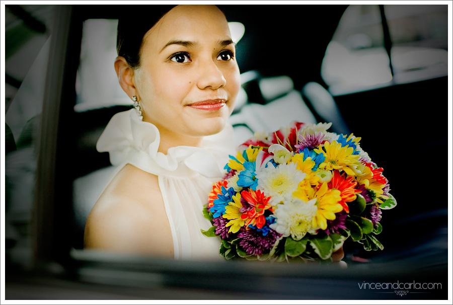 bride inside car limo limousine wedding waiting flower boquet