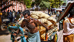 Tricycle-man, hard Labour • Madurai (Henk oochappan) Tags: madurai 2004 oochappan travel tamillifeculture asia dravidian maduraicitylife tamilnadu tamil southindia india indianphotography tamilnadumen tamilmen tamilman dscn0028 dscn201