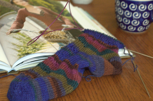 socks and book and coffee