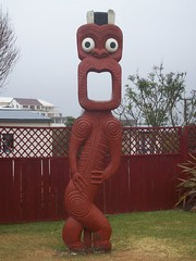 Maori sculpture, Rotorua (- MattW -) Tags: new travelling church rotorua village zealand backpacking northisland maori kiwi