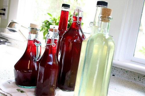 blueberry basil and lemon mint vinegars