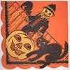 Vintage Halloween Napkin Scarecrow Cat Jack-O-Lantern (by riptheskull)