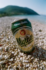 greek beer (menanderman) Tags: camera old sea film beach closeup analog vintage fisheye zenitar ithaki 2816 cheaprossmannfilm
