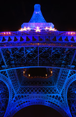 Eiffel Tower - Paris (Giuseppe Finocchiaro) Tags: blue paris france tower night nikon nightshot blu steel eiffel structure francia parigi abigfave picturefantastic betterthangood goldstaraward top25blue