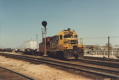 Atchinson, Topeka & Santa Fe hump yard switching. Corwith Yard. Chicago Illinois. April 1984.
