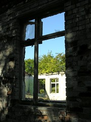 Former barrack of the Russian Red Army (Gerlinde Hofmann) Tags: germany thuringia town hildburghausen mountain stadtberg barrack former decay abandoned open window outside inside russian army brick shadow noroof sky russianarmy picturewithmusic ziegelstein fenster eastgermanrelic backstein architecture vonausennachinnen ziegelsteinhaus ziegelsteingebäude ziegelsteinwand brickhouse madeingdr ruin ruine littlestory