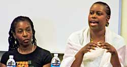 Former Congresswoman Cynthia McKinney, who was the Green Party presidential candidate in 2008, is shown here speaking at the Critical Resistance conference in Oakland, CA. Prof. Soffiyah Elijah on left. (WW Photo). by Pan-African News Wire File Photos