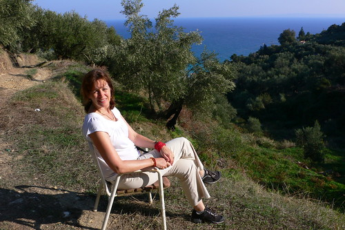 Admiring the view over the sea and olive groves near Argassi
