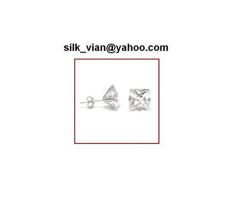 7mm sq Solid 14k white gold CZ earrings 14k bling