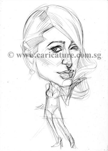 Celebrity caricatures - Paris pencil sketch watermark