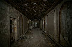 Forbidding Corridor (Noel Kerns) Tags: plaza abandoned night hotel michigan detroit corridor hallway lee