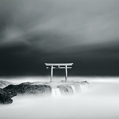 Shinto shrine in the sky (yu+ichiro) Tags: bw 120 6x6 mamiya shintoshrine f28 longexpose 80mm c330 sekor