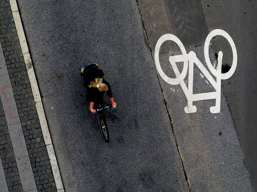 Blonde. Bicycle. Pictogram.